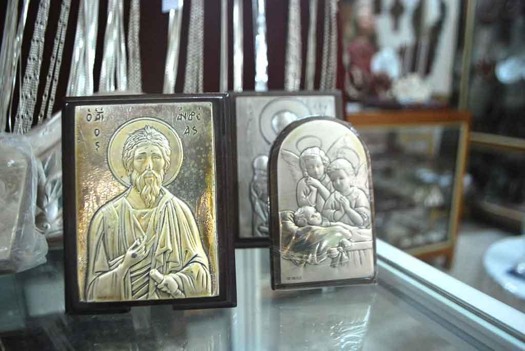 Silver icons in Lefkara, Cyprus.