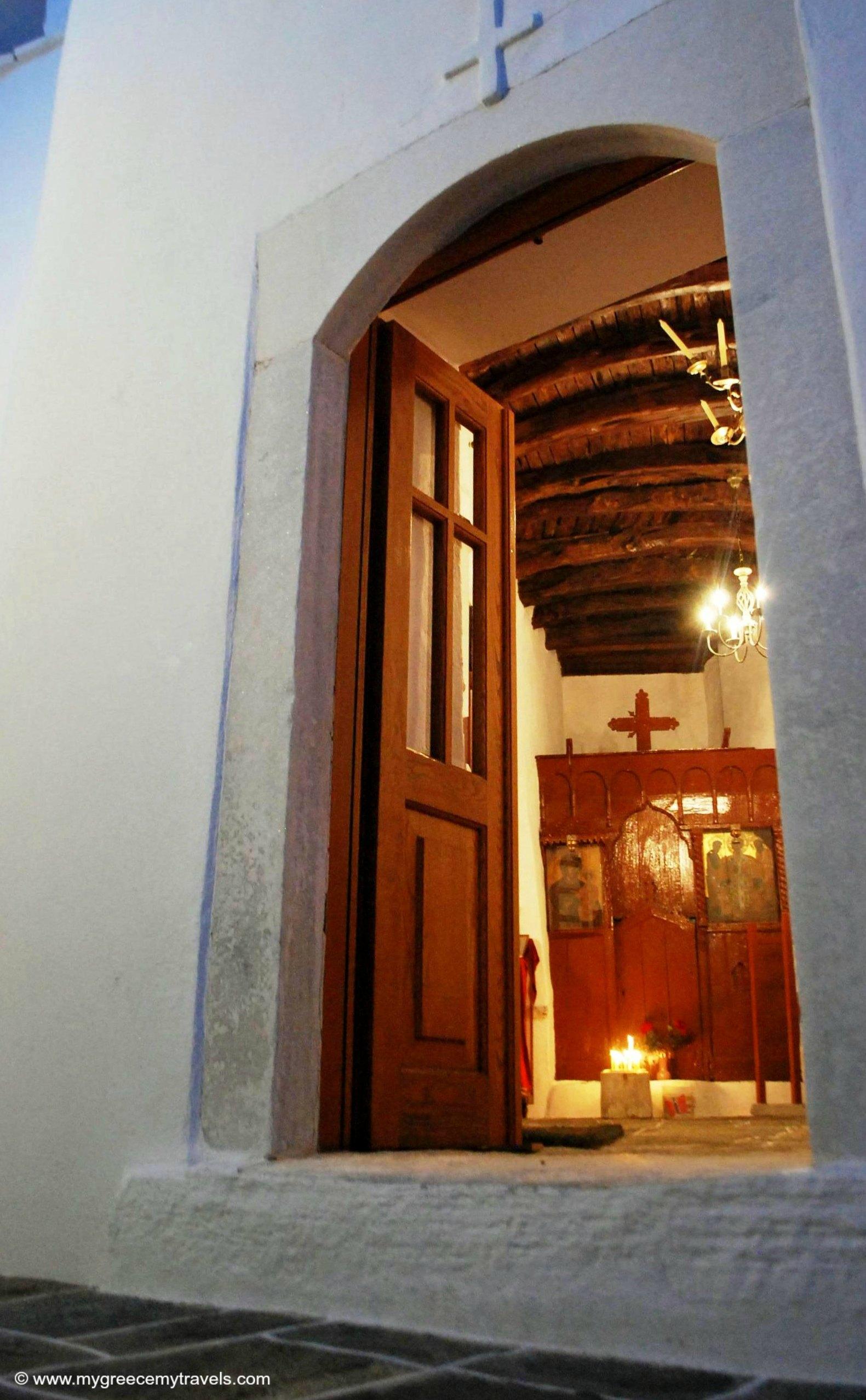 An open door of a church.