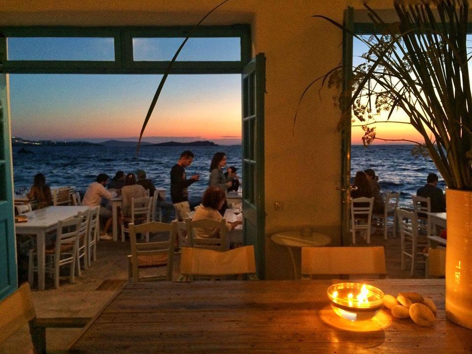 Caprice of Mykonos at sunset.