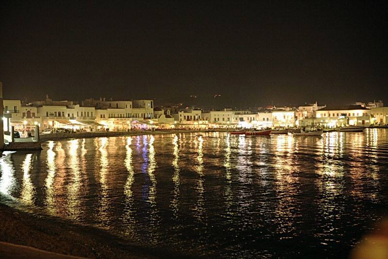Mykonos Town at night.
