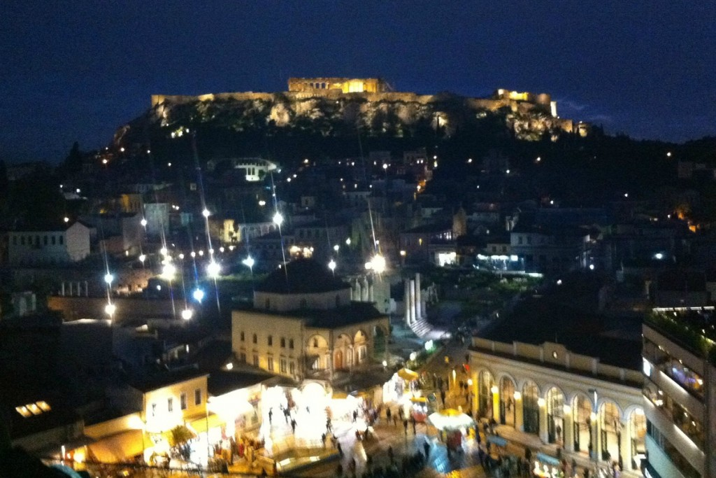 Rooftop cafe bar views at night are lovely in Athens.