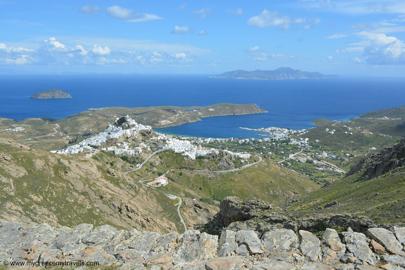 view of serifos from the monopati hiking train