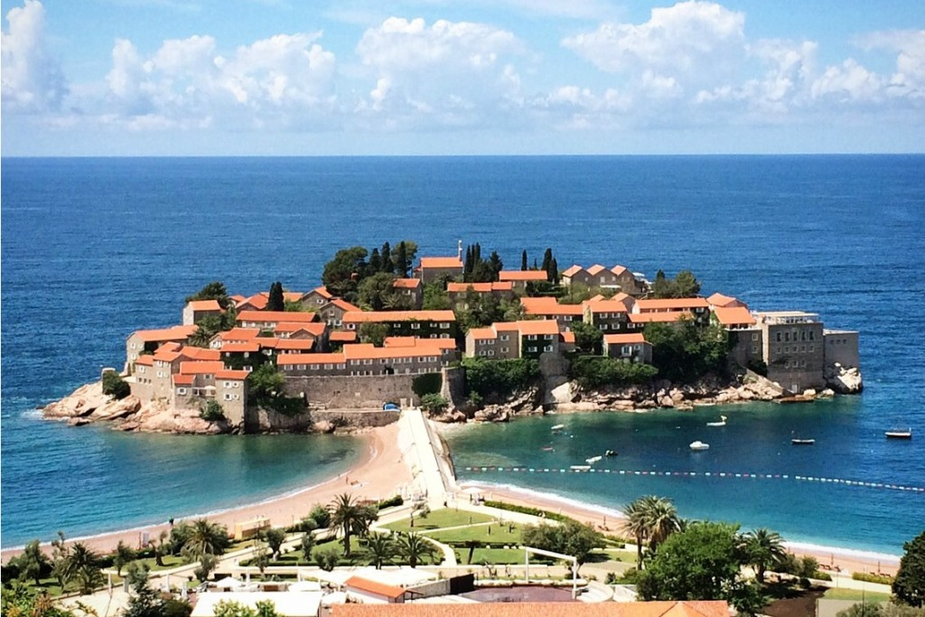 view of aman sveti stefan from the road