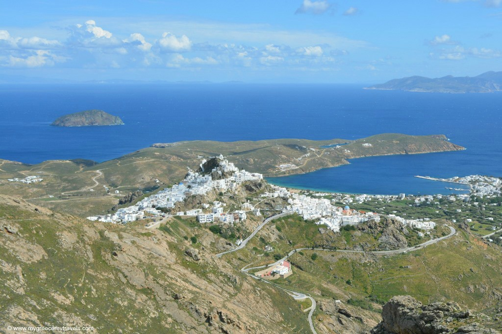View of the Chora of Serifos from the monopati old mining trail.