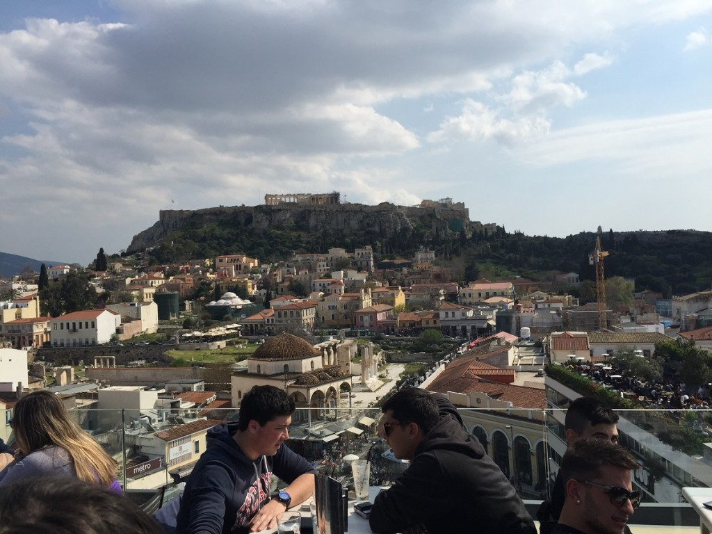 Athens rooftop cafes have great views of the city.