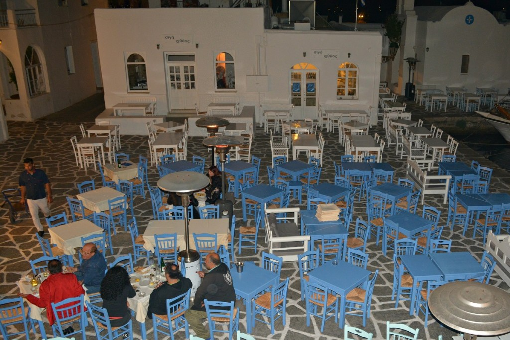 Naoussa port view at night in Paros.