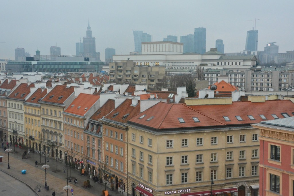 Old Town looking to the new city center of Warsaw, Poland.