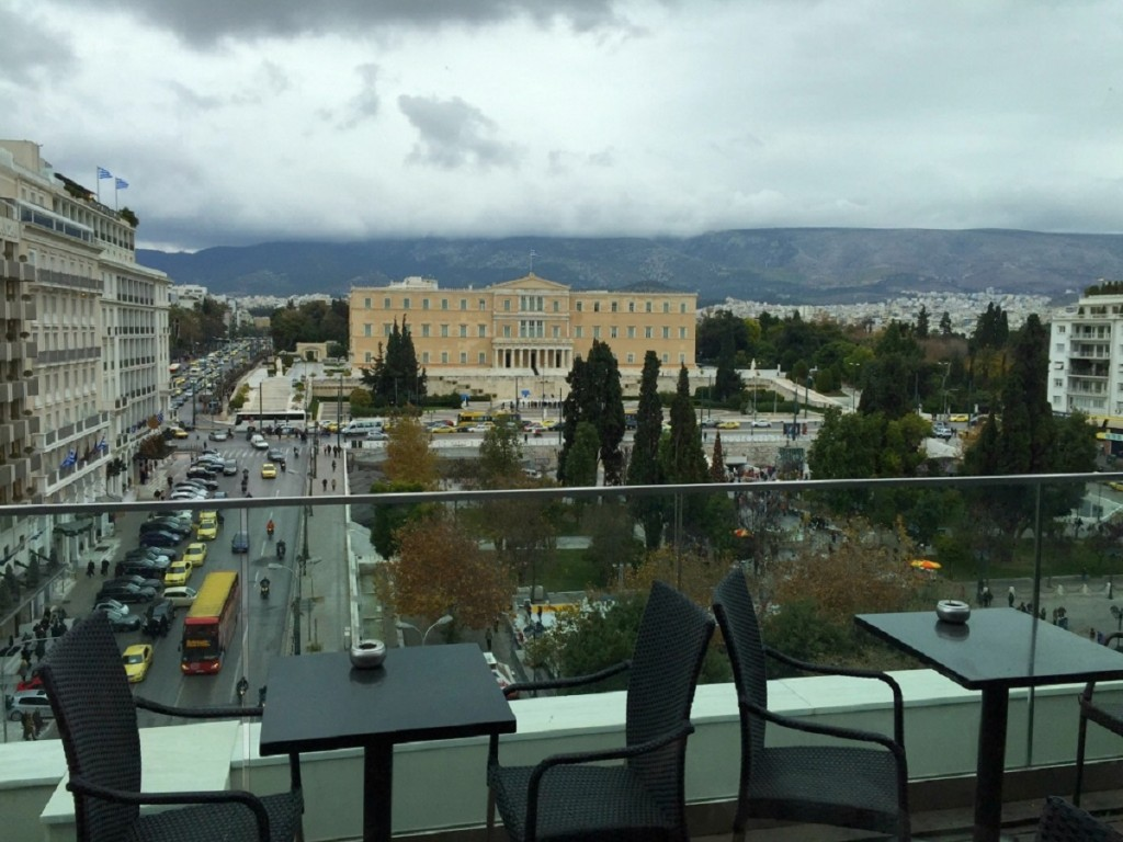 Smoke free cafes in Athens. A scenic but rainy day view from Public in Syntagma.