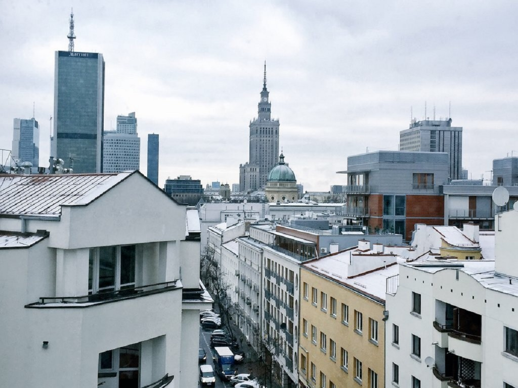 A lovely snowy view at the Rialto Hotel in Warsaw, Poland.
