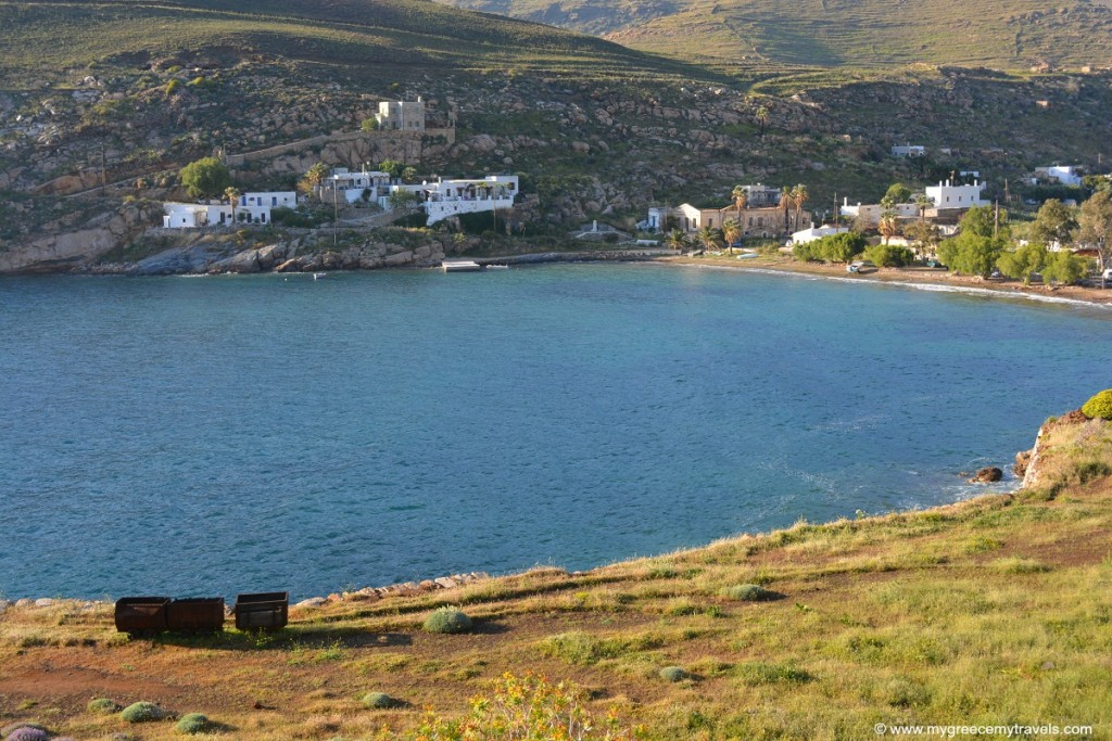 Old mining cars and the beach of Megalo Livadi, Serifos.