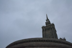 One perspective of the Palace of Culture and Science.