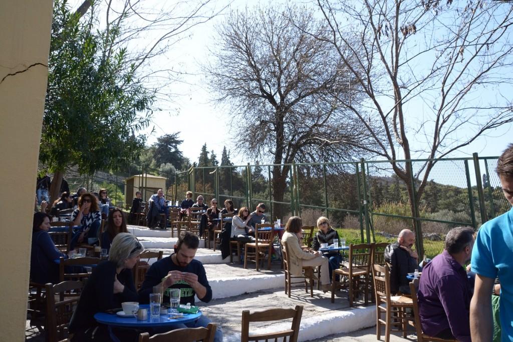 Plaka coffee break on the Greek mythology tour in Athens.