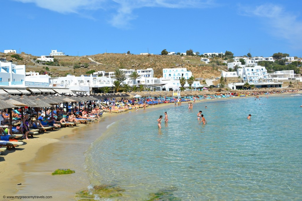 Platis Gialos beach in Mykonos.