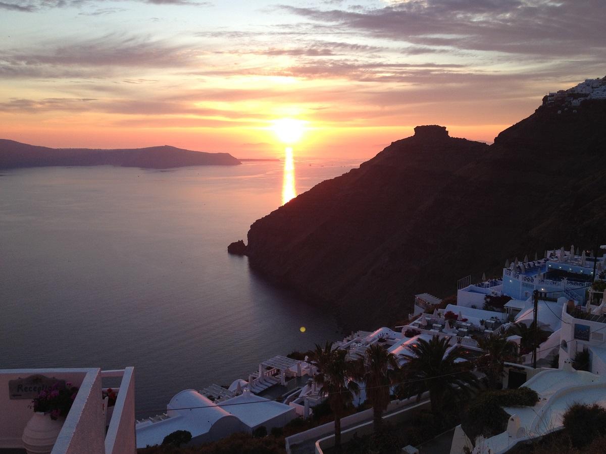 Santorini at sunset.