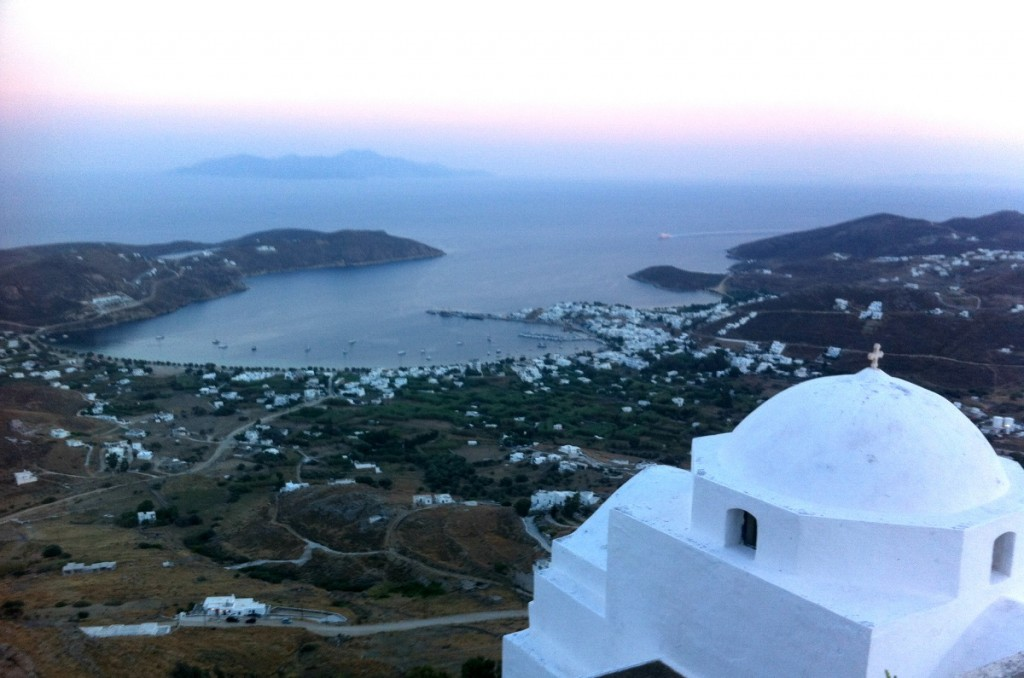 Views of Serifos from the Venetian castle after sunset.