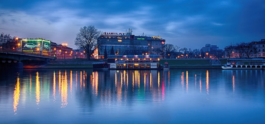 Krakow, Poland. Vistula River at night photo courtesy of Redstone Hill.
