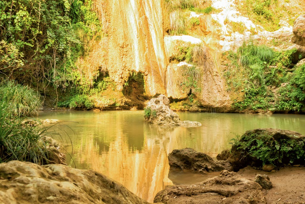 Kalamari waterfall in Peloponnese Greece. A famous touristic destination.